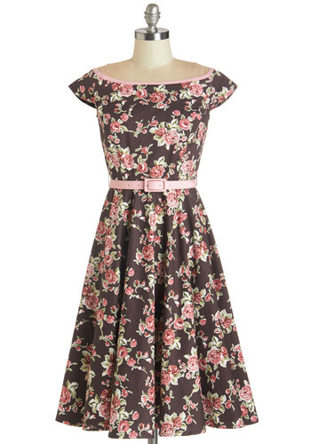 All Occasion Pass Dress - International Designer, Multi, Cotton, Woven, Brown, Floral, Belted, Daytime Party, A-line, Cap Sleeves, Boat