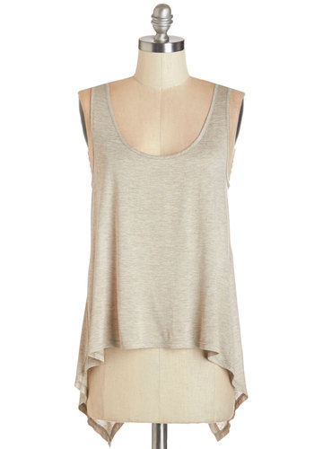Creative Flow Top in Mushroom - Knit, Tan, Solid, Casual, Tank top (2 thick straps), Variation, Scoop, Brown, Sleeveless