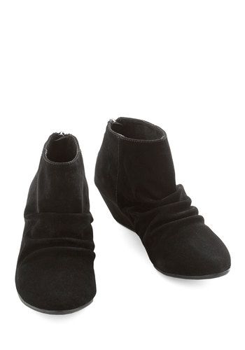 Aspiring Entrepreneur Bootie - Low, Faux Leather, Velvet, Black, Solid, Casual, Wedge