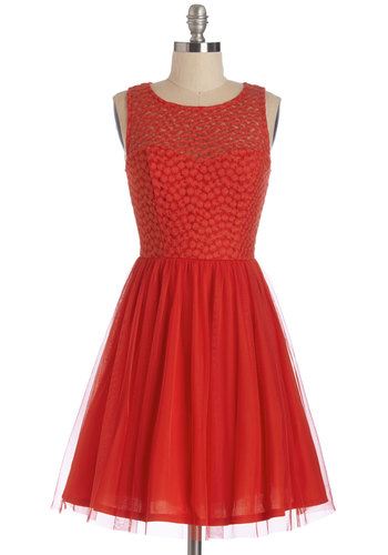 Scarlet Celebration Dress - Red, Solid, Party, A-line, Sleeveless, Woven, Tulle, Good, Scoop, Mid-length, Valentine's, Homecoming, Prom