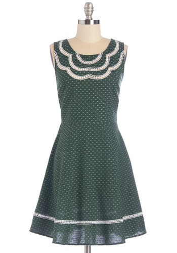 It's About Pine Dress - Green, White, Polka Dots, Embroidery, Casual, A-line, Sleeveless, Fall, Woven, Good, Scoop, Cotton, Mid-length