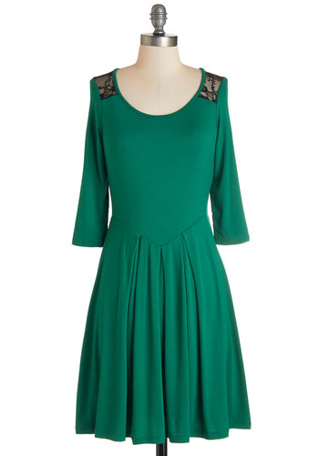 Library Opening Dress - Green, Black, Lace, Casual, A-line, 3/4 Sleeve, Fall, Knit, Good, Scoop, Jersey, Mid-length