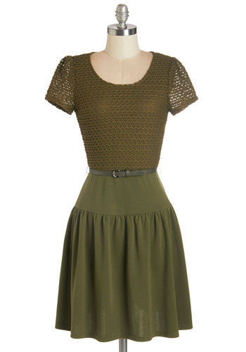 Just Fir You Dress - Green, Belted, Casual, A-line, Fall, Knit, Better, Scoop, Mid-length, Short Sleeves, Sweater Dress