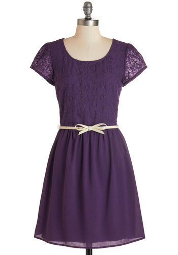 Subtly Sweet Dress - Purple, Solid, Lace, Belted, Party, A-line, Cap Sleeves, Fall, Woven, Good, Scoop, Mid-length