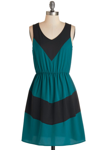 Afternoon of Architecture Dress in Teal - Blue, Black, Casual, A-line, Sleeveless, Fall, Woven, Good, V Neck, Mid-length, Colorblocking