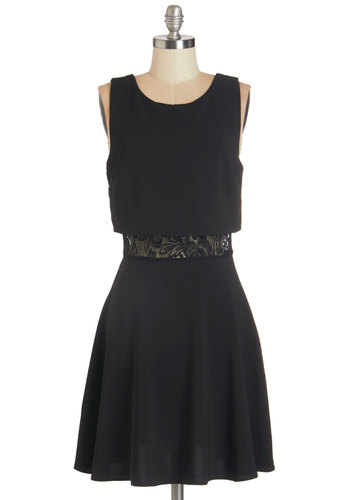 Enamored with Your Look Dress - Black, Solid, Cutout, Lace, Girls Night Out, A-line, Sleeveless, Fall, Good, Scoop, Woven, Lace, Party, Mid-length