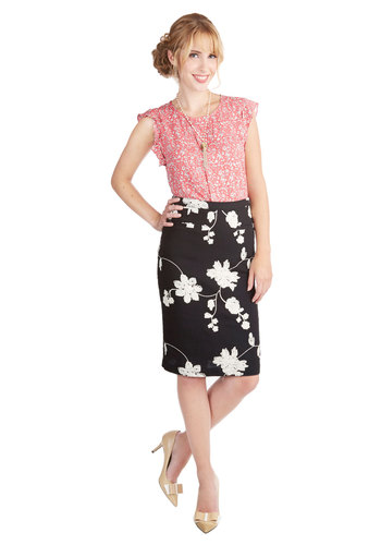 Seasoned Sommelier Skirt by Tulle Clothing - Pencil, Fall, Better, Black, Cotton, Knit, Black, Floral, Embroidery, Work, Mid-length, White, Spring