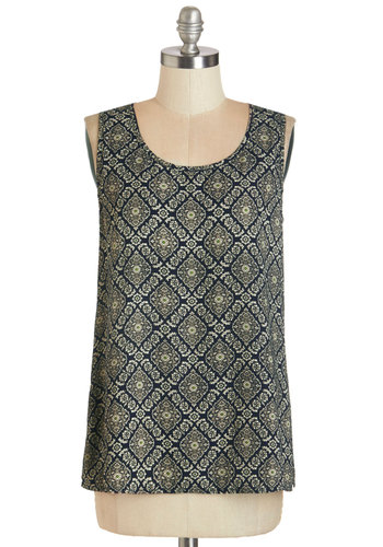 Front of the Boardroom Top - Woven, Multi, Print, Exposed zipper, Work, Sleeveless, Scoop, Multi, Sleeveless