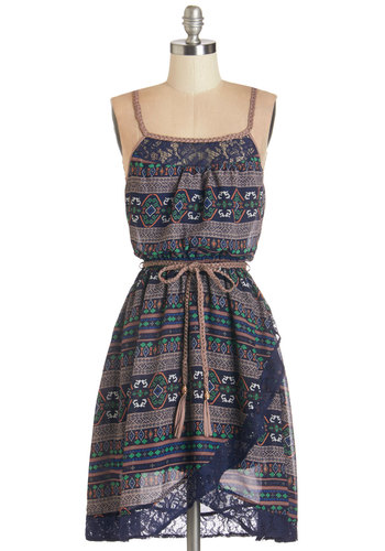 That Festive Feeling Dress - Multi, Print, Braided, Lace, Belted, Casual, Boho, A-line, Woven, Good, Scoop, Festival, Spaghetti Straps