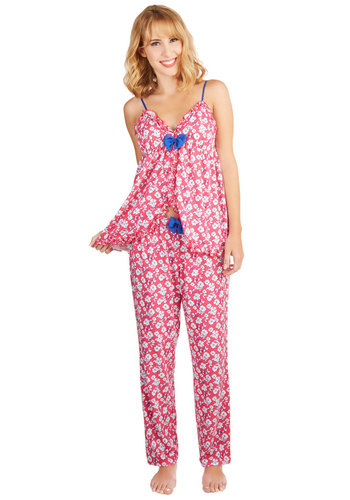 Nap Out a Plan Pajamas - Knit, Floral, Bows, Trim, Darling, Pink, Blue, White, Ruffles, Spaghetti Straps