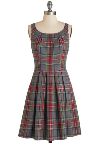 Keynote Taking Dress - Multi, Exclusives, Plaid, Pleats, Pockets, Casual, Vintage Inspired, 90s, A-line, Sleeveless, Fall, Woven, Good, Scoop, Mid-length