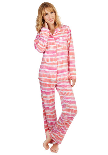A Bright Night's Sleep Pajamas - Pink, Stripes, Buttons, Trim, Dorm Decor, Scholastic/Collegiate, Darling, Nifty Nerd, Orange