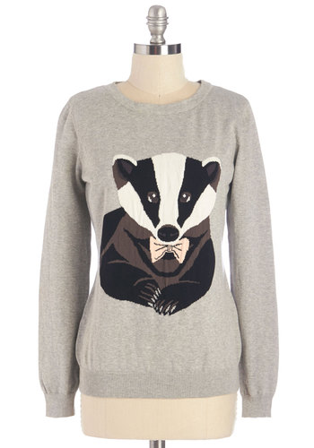 Badger of Honor Sweater by Sugarhill Boutique - Grey, Long Sleeve, Grey, Black, White, Print with Animals, Casual, Long Sleeve, Fall, Quirky, Critters, Cotton, Knit, Mid-length