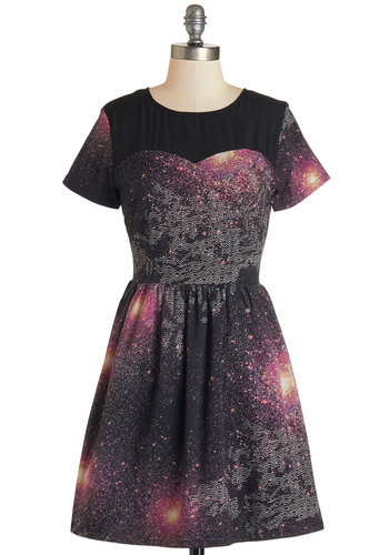 Every Which Milky Way Dress by Sugarhill Boutique - Multi, Print, Party, Cosmic, A-line, Short Sleeves, Woven, Better, Scoop, International Designer, Mid-length