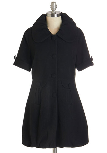 The Amour You Know Coat in Black by Pink Martini - Better, Black, Woven, Black, Solid, Buttons, Pockets, Work, Vintage Inspired, Short Sleeves, Fall, Winter, Collared, 2, Long