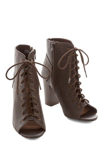 Coffee Bar Bootie - Mid, Faux Leather, Brown, Solid, Party, Urban, Better, Lace Up, Chunky heel, Peep Toe