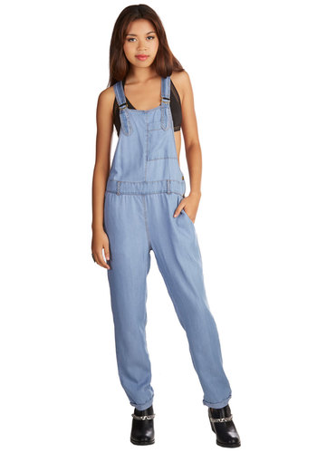 Wild Blue Wonder Overalls - Overalls, Tapered Leg, Denim, Good, Full length, Blue, Light Wash, Denim, Woven, Blue, Solid, Pockets, Casual, Vintage Inspired, Ultra High Rise