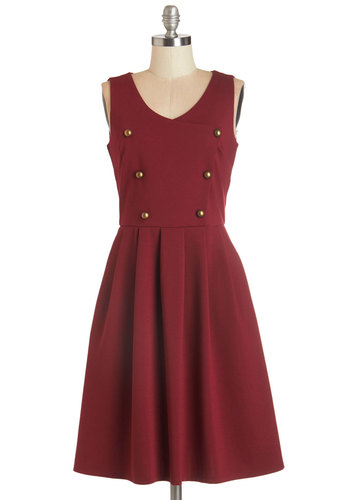Celebrated Scientist Dress by Myrtlewood - Knit, Red, Solid, Buttons, Work, Casual, Nautical, A-line, Sleeveless, Fall, Better, Private Label, V Neck, Pleats, Pockets, Exclusives, Full-Size Run, Long