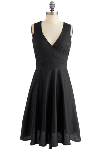 Beguiling Beauty Dress in Black - Black, Solid, Pleats, Casual, A-line, Sleeveless, Woven, Good, V Neck, Cotton, Cocktail, Full-Size Run, LBD
