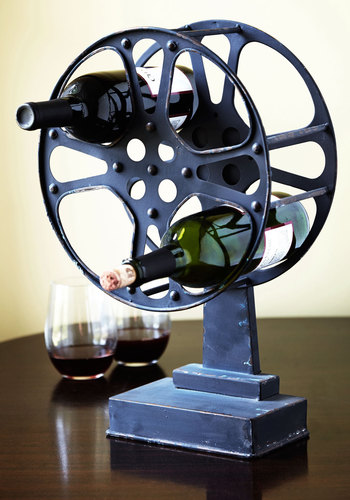 A Reel Work of Art Wine Rack - Black, Vintage Inspired, Rustic, Steampunk, Best, Solid, Guys