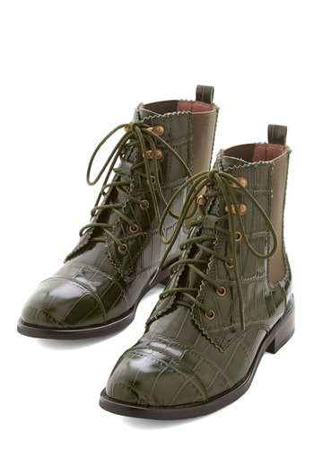 Casting Call of the Wild Boot by Jeffrey Campbell - Low, Leather, Green, Animal Print, Menswear Inspired, Statement, Best, Lace Up, Military, Steampunk