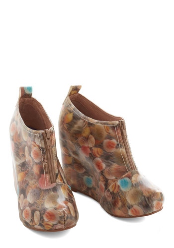 Jeffrey Campbell Show and Shell Wedge by Jeffrey Campbell - High, Multi, Novelty Print, Exposed zipper, Party, Nautical, Statement, Quirky, Best, Platform, Wedge