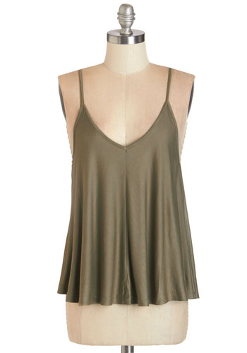 Lounging in Loveliness Top in Moss - Jersey, Knit, Green, Solid, Casual, Spaghetti Straps, Green, Sleeveless