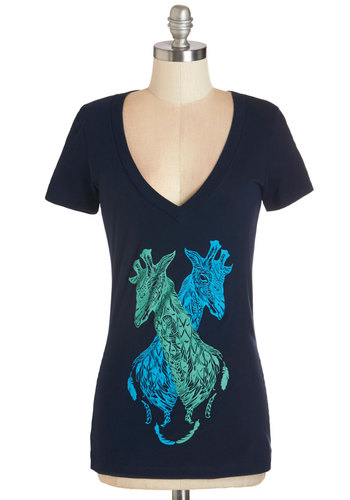 A Couple of Tall Tails Top - Cotton, Knit, Blue, Print with Animals, Casual, Short Sleeves, V Neck, Blue, Short Sleeve