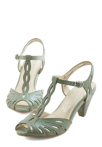 Trip the Light Heel in Sage by Seychelles - Mid, Leather, Green, Solid, Cutout, Special Occasion, Prom, Wedding, Party, Cocktail, Better, Peep Toe, Variation, Vintage Inspired, 40s, 50s, T-Strap