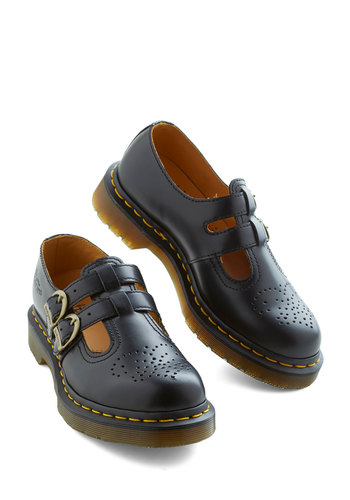 We Had a Time Flat by Dr. Martens - Low, Leather, Black, Solid, Buckles, Vintage Inspired, 90s, Scholastic/Collegiate, Best, Mary Jane