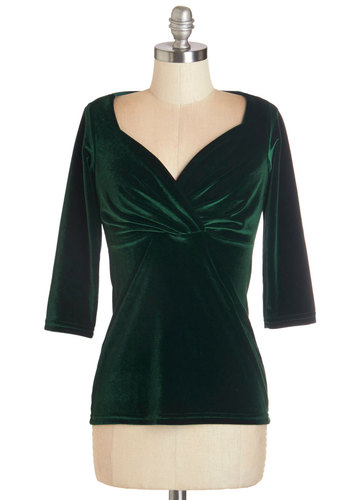 Top of the Classic in Green Velvet - Knit, Velvet, Green, Solid, Party, Holiday Party, 3/4 Sleeve, Variation, Sweetheart, Green, 3/4 Sleeve