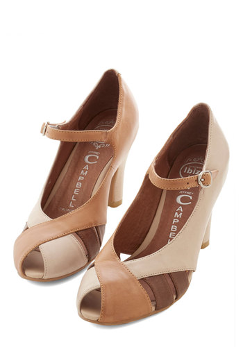 Hazelnut Haute Heel by Jeffrey Campbell - Mid, Leather, Tan, Brown, Tan / Cream, Solid, Cutout, Wedding, Party, Work, Vintage Inspired, 20s, Best, Mary Jane, 30s, 40s, Peep Toe