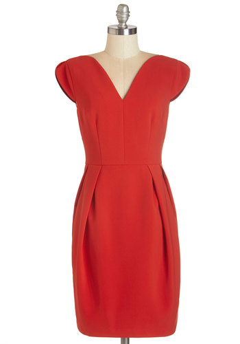 Candlelit Crêpes Dress - Red, Solid, Cocktail, Cap Sleeves, Woven, Better, V Neck, Mid-length, Sheath