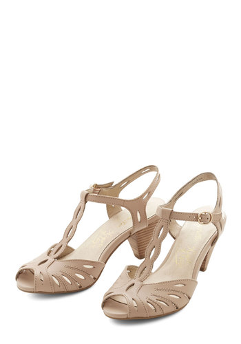 Trip the Light Heel in Beige by Seychelles - Mid, Leather, Tan, Solid, Cutout, Special Occasion, Prom, Wedding, Party, Cocktail, Bridesmaid, Better, T-Strap, Variation, Daytime Party