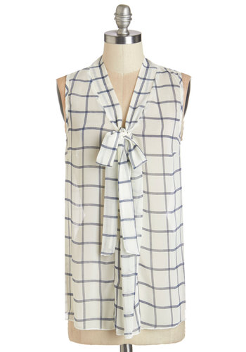 South Florida Spree Top in Plaid - Chiffon, Sheer, Woven, White, Blue, Checkered / Gingham, Tie Neck, Work, Sleeveless, Variation, White, Sleeveless, Mid-length, Basic