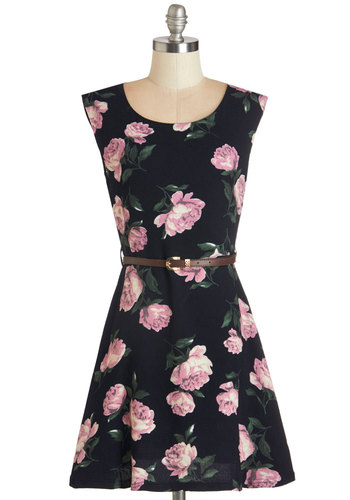 One Fleur the Ages Dress - Floral, Belted, Casual, A-line, Sleeveless, Woven, Good, Scoop, Mid-length, Pink, Black, Print