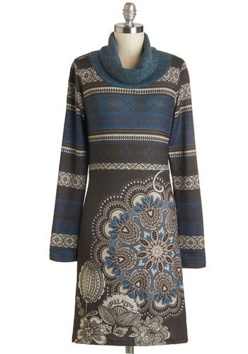 Commit it to Memoir Dress - Mid-length, Knit, Multi, Print, Casual, Shift, Long Sleeve, Fall, Better, Cowl