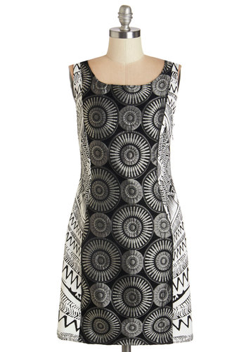 Montage, You're It Dress - Mid-length, Knit, Black, Print, Girls Night Out, Shift, Sleeveless, Fall, Better, Scoop, White, Party