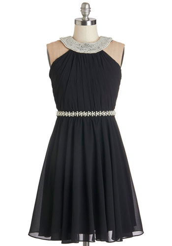 Marvel at the Moon Dress - Black, Pearls, Special Occasion, Prom, A-line, Sleeveless, Woven, Better, Mid-length, Chiffon, Homecoming