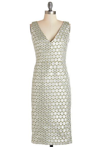 Exquisitely Effervescent Dress - Silver, Print, Glitter, Special Occasion, Party, Shift, Sleeveless, Woven, Better, V Neck, Cocktail, Holiday Party, Full-Size Run