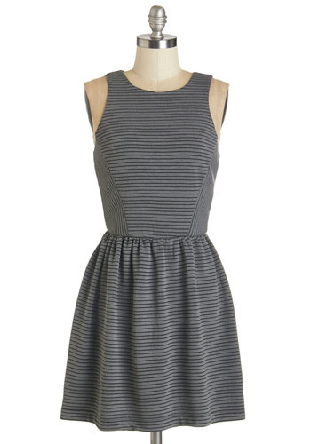 In the Swing Dress - Grey, Stripes, Casual, A-line, Sleeveless, Fall, Knit, Good, Scoop, Short, Grey