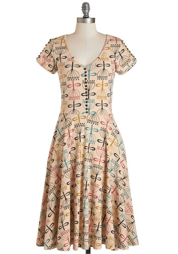 Ponder on the Platform Dress by Effie's Heart - Multi, Print, Buttons, Casual, A-line, Cap Sleeves, Knit, Better, V Neck, Cotton, Long