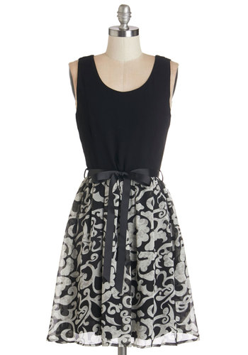 You've Got Real Appeal Dress - Black, White, Print, Belted, Casual, A-line, Sleeveless, Better, Scoop, Mid-length