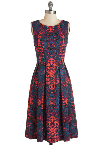 Liven Up the Night Dress - Long, Knit, Multi, Print, Daytime Party, A-line, Sleeveless, Better, Scoop, Pleats