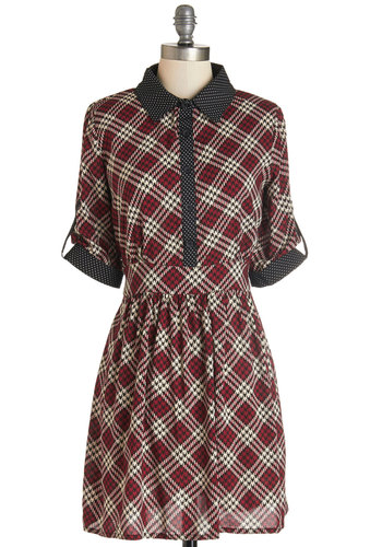 Bookish Beauty Dress - Short, Woven, Red, Tan / Cream, Polka Dots, Houndstooth, Buttons, Trim, Casual, A-line, Short Sleeves, Fall, Better, Collared, Black, Plaid, Scholastic/Collegiate, Rustic