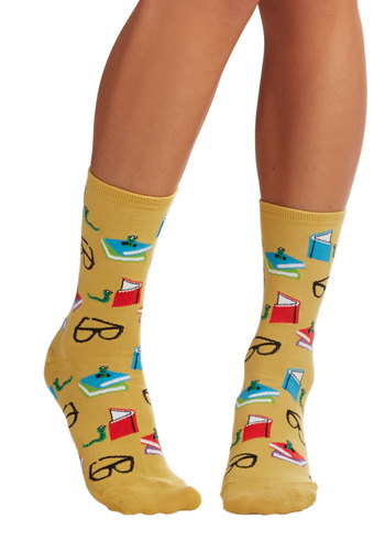 Curl Up With a Good Bookworm Socks - Yellow, Quirky, Scholastic/Collegiate, Nifty Nerd, Knit, Novelty Print, Casual