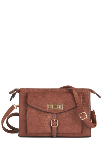 Perks and Recreation Bag by Melie Bianco - Brown, Gold, Solid, Work, Brown, Faux Leather