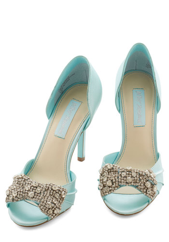 Betsey Johnson Dancing Gleam Heel in Crystal Blue by Betsey Johnson - High, Satin, Blue, Solid, Bows, Rhinestones, Special Occasion, Prom, Wedding, Bridesmaid, Bride, Homecoming, Peep Toe, Variation