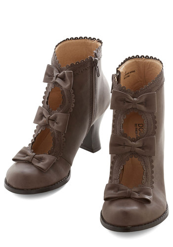 Powerful Protagonist Bootie in Grey - Mid, Faux Leather, Grey, Solid, Bows, Scallops, Trim, Party, French / Victorian, Steampunk, Variation