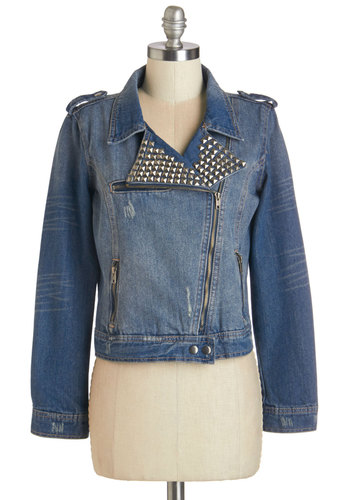 Turn Up the Amp Jacket - Cotton, Denim, Woven, 1, Blue, Epaulets, Exposed zipper, Pockets, Studs, Casual, Urban, Long Sleeve, Short